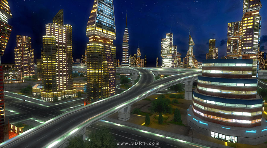 38-city-night-lights-dawn-3D-level-cityscape-38