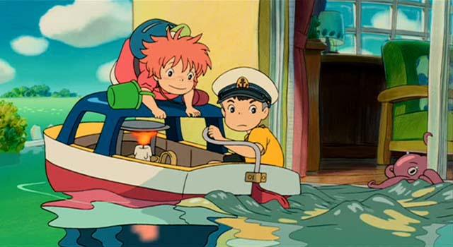 ponyo and sosuke on baot blu-ray screen shot