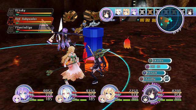 Neptunia MK2 opponents include a Super Mario Bros style pipe and a ghost from Pac-Man
